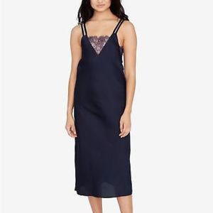 RACHEL Rachel Roy Lace-Inset Slip Dress Navy XXL